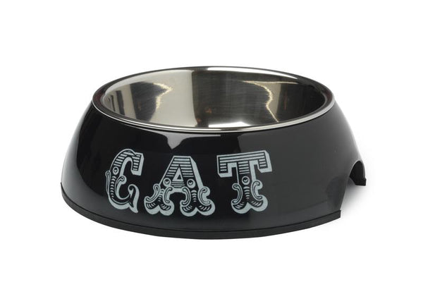 COUNTRY KITCHEN CAT BOWL - BLACK