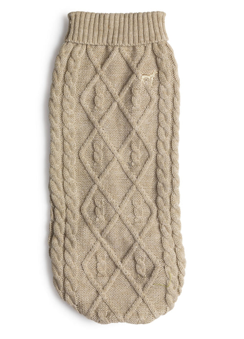 POLO NECK CABLE KNIT OATMEAL - M