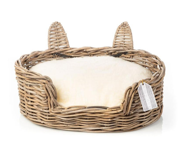 RATTAN CAT BASKET WITH EARS