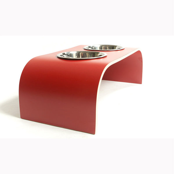 Red Raised Dog Bowl Holder - Medium - Jolly and Bea's - 1