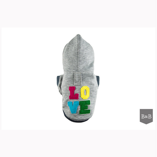 Grey LOVE Dog Hoodie - Jolly and Bea's - 1