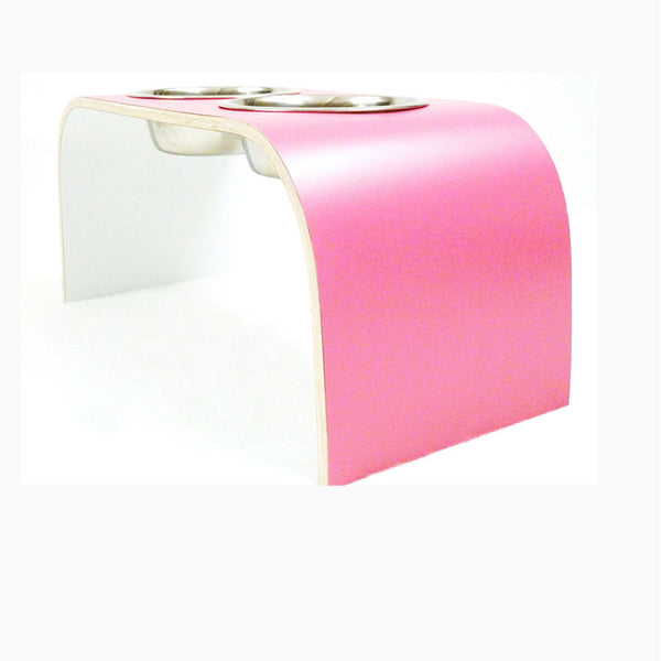 Medium Aluminium & Wood Designer Raised Pet Feeder in Pink - Jolly and Bea's - 3