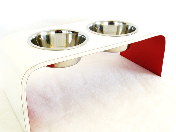 Medium White and Red Raised Dog Bowl Holder - Squared Design - Jolly and Bea's - 5