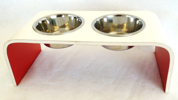 Medium White and Red Raised Dog Bowl Holder - Squared Design - Jolly and Bea's - 3