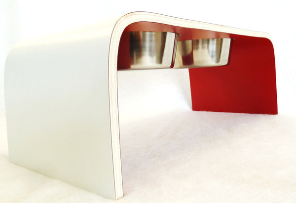 Medium White and Red Raised Dog Bowl Holder - Squared Design - Jolly and Bea's - 2