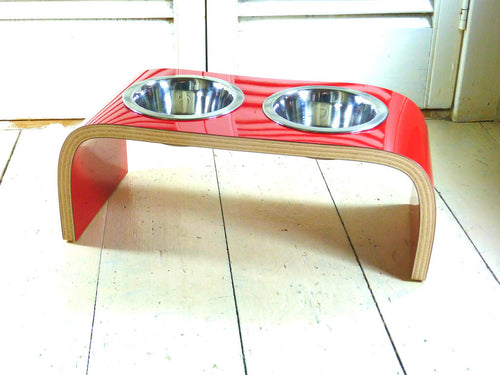 Red Gloss Dog Bowl Holder - Curved - Jolly and Bea's - 2
