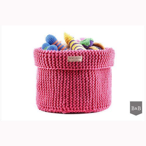 Pink Cotton Toy Basket - Jolly and Bea's - 1
