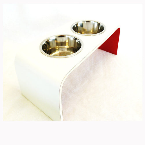 Medium White and Red Raised Dog Bowl Holder - Squared Design - Jolly and Bea's - 1