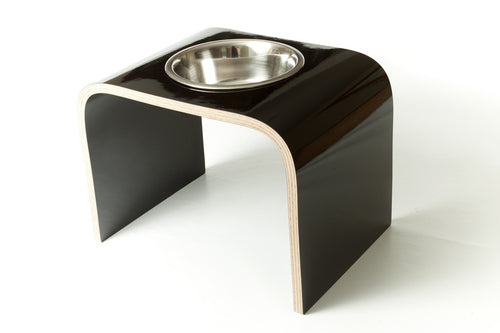 Single Bowl Raised Dog Bowl Holder - Black Gloss - Jolly and Bea's