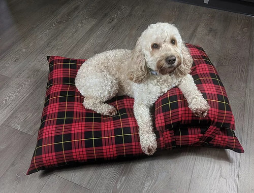 Red Check Tartan Luxury Dog Bed