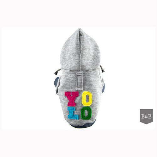 Grey YOLO Dog Hoodie - Jolly and Bea's - 1