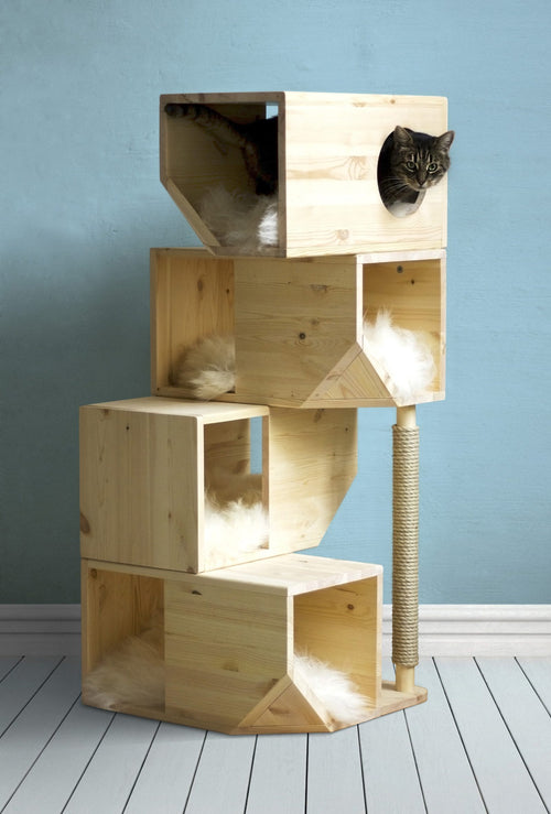 Catissa Freestanding 4 storey cat house Natural