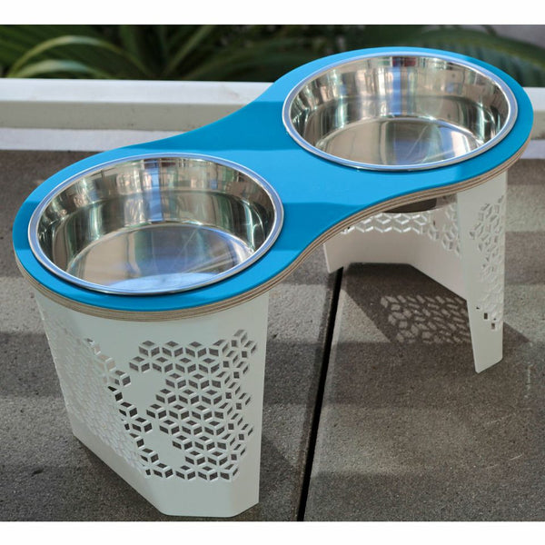 Tall Peanut Dog Bowl (Blue) - Jolly and Bea's - 2