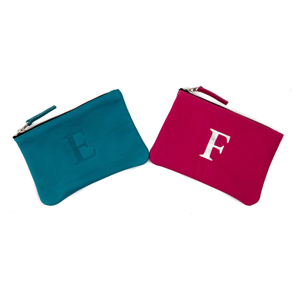 Geniune Leather Initial Pouches