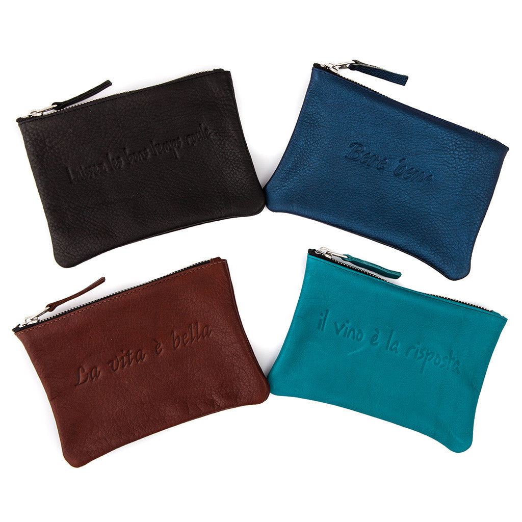 Geniune Leather Saying Pouches