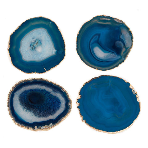 Gold Trimmed Agate Coasters