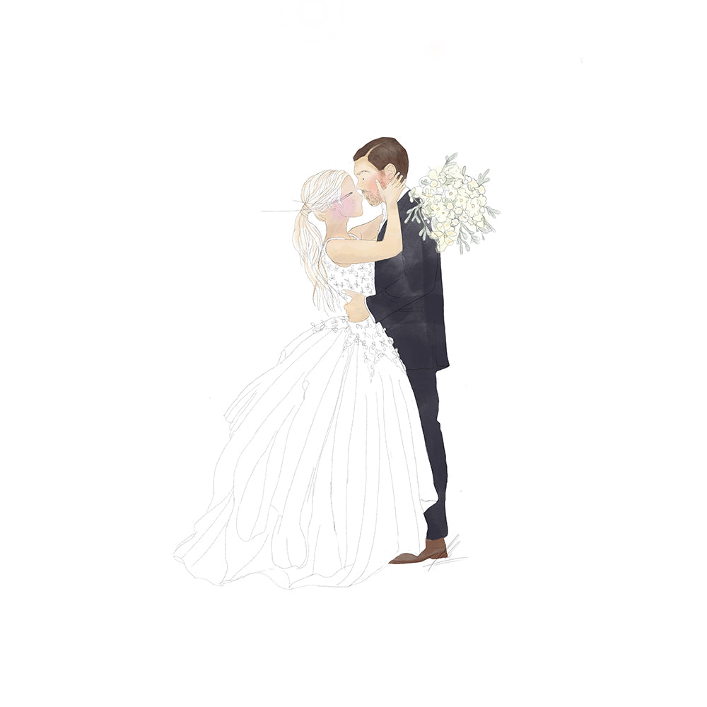 custom illustration portrait bride and groom iamsali