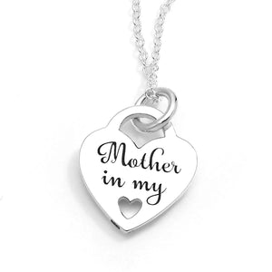 "Sterling Silver ""Mother in my Heart"" Heart Necklace"