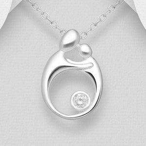 Silver Mom And Child Necklace