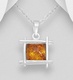 Silver Baltic Amber Necklace