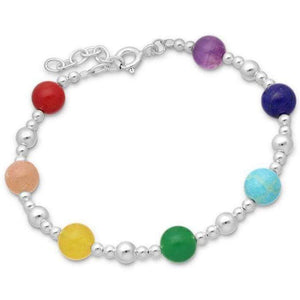 Silver Ball and Chakra Bracelet