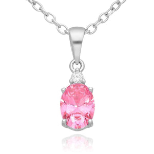 Silver Pink Oval CZ Necklace
