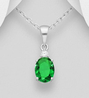 Silver Green Oval CZ Necklace