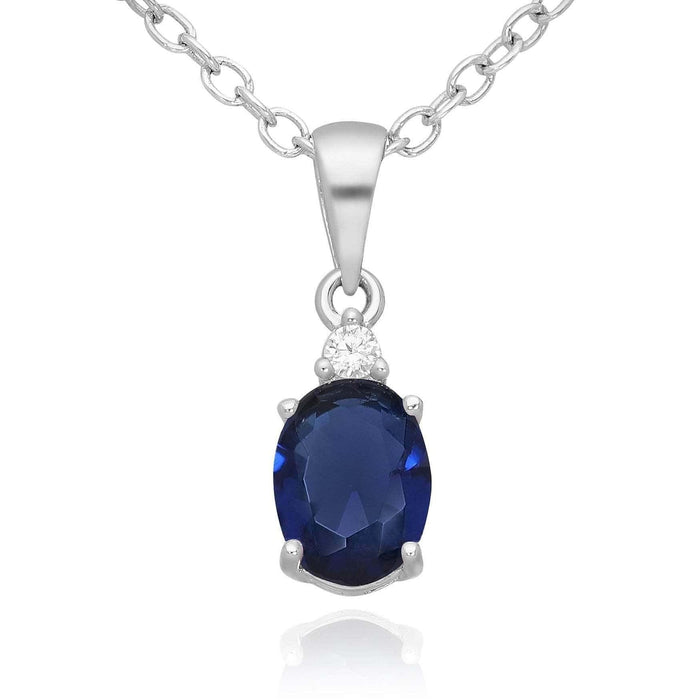 Silver Blue Oval CZ Necklace