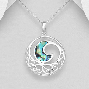 Sterling Silver Pendant Featuring Wave Necklace