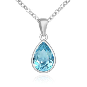 Teardrop Swarovski Aqua Necklace