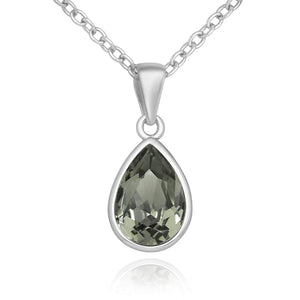 Teardrop Swarovski Black Diamond Necklace