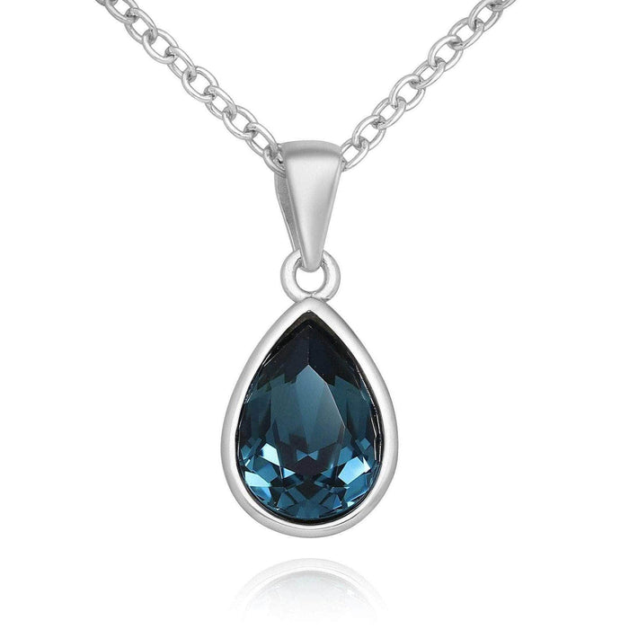 Teardrop Swarovski Montana Blue Necklace