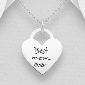 "Sterling Silver ""Best mom ever"" Heart Necklace"