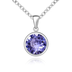 Silver Sparkle Swarovski Tanzanite Necklace