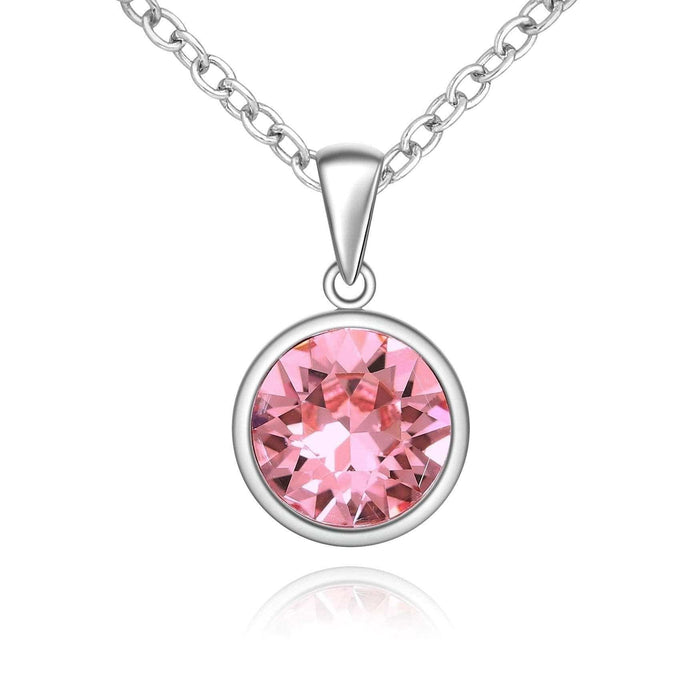 Silver Sparkle Swarovski Light Rose Necklace