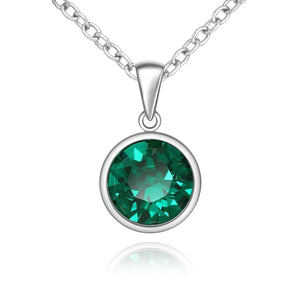 Silver Sparkle Swarovski Emerald Necklace