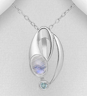 Sky-Blue Topaz - Rainbow Moonstone Necklace
