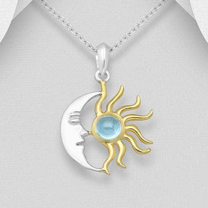 Silver Sun and Moon Face Necklace