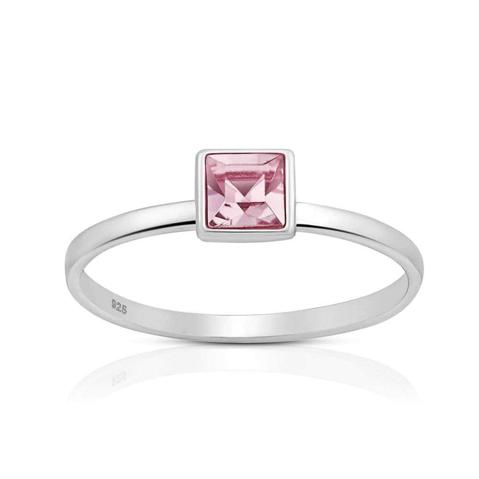 Silver Square Light Rose Swarovski Crystal Ring