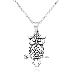 Sterling Silver Celtic Owl Necklace