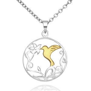 Silver Bird and Leaf Necklace
