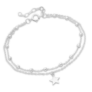 Silver Ball and Star Bracelet