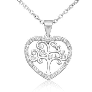 Silver Heart Tree of Life Necklace
