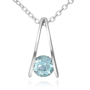 Silver Solitaire Sky Blue Topaz Necklace