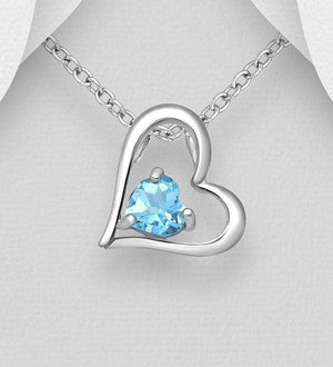Silver Sky-Blue Topaz Heart Necklace