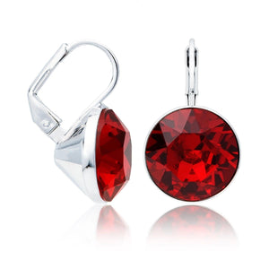 Silver Earrings-Ruby Drop Swarovski Drop Earrings