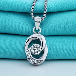 Silver Necklace-Crystal Multi stone Pendant (5765415749)