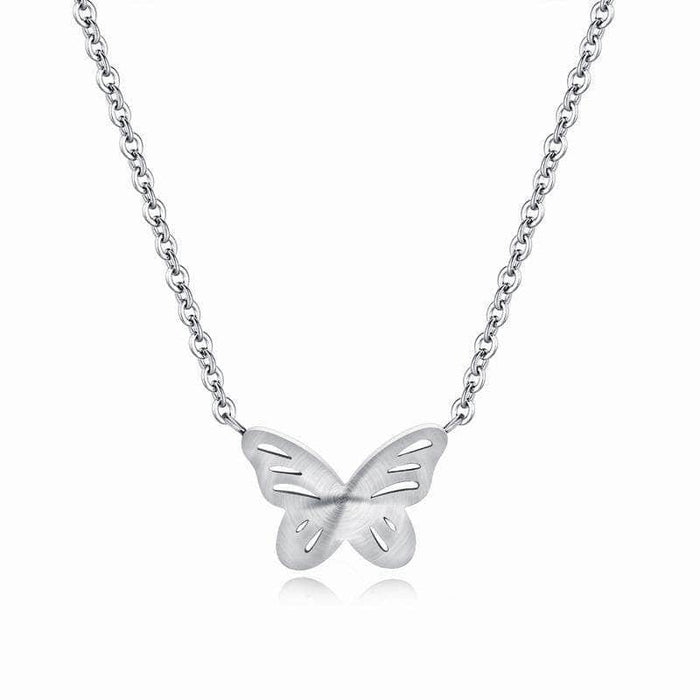 Silver Titanium Butterfly Necklace