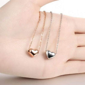 Gold Necklaces | Gold Titanium steel Rose Heart Necklace (120295096338)