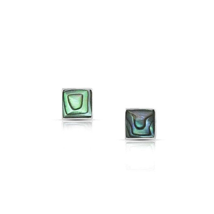 Sterling Silver Square shell Push-Back Earring